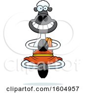 Clipart Of A Cartoon Meditating And Grinning Zen Sheep Royalty Free Vector Illustration