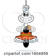 Clipart Of A Cartoon Meditating And Grinning Zen Unicorn Royalty Free Vector Illustration