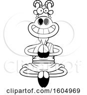 Clipart Of A Cartoon Black And White Meditating And Grinning Zen Goat Royalty Free Vector Illustration