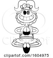 Clipart Of A Cartoon Black And White Meditating And Grinning Zen Ox Royalty Free Vector Illustration