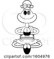 Clipart Of A Cartoon Black And White Meditating Zen Sheep Royalty Free Vector Illustration