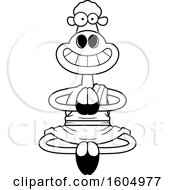 Clipart Of A Cartoon Black And White Meditating And Grinning Zen Sheep Royalty Free Vector Illustration