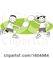 Clipart Of A Boy And Girl Throwing A Water Balloons On Field Day Over A Green Oval Royalty Free Vector Illustration