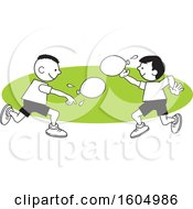 Clipart Of Boys Throwing A Water Balloons On Field Day Over A Green Oval Royalty Free Vector Illustration