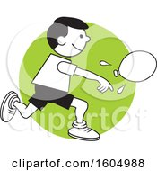 Clipart Of A Boy Throwing A Water Balloon On Field Day Over A Green Circle Royalty Free Vector Illustration