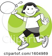 Clipart Of A Girl Throwing A Water Balloon On Field Day Over A Green Circle Royalty Free Vector Illustration