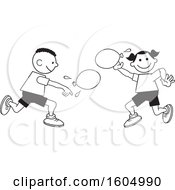 Poster, Art Print Of Boy And Girl Throwing A Water Balloons On Field Day