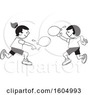 Boy And Girl Throwing A Water Balloons On Field Day