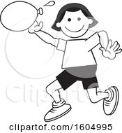 Girl Throwing A Water Balloon On Field Day