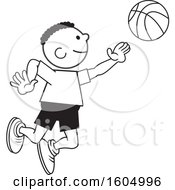 Clipart Of A Black Boy Playing Basketball Royalty Free Vector Illustration