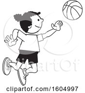Clipart Of A Black Girl Playing Basketball Royalty Free Vector Illustration
