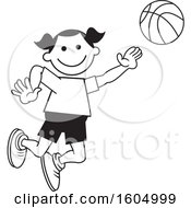 Clipart Of A Girl Playing Basketball Royalty Free Vector Illustration