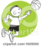 Clipart Of A Black Boy Playing Basketball Over A Green Circle Royalty Free Vector Illustration