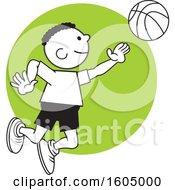 Black Boy Playing Basketball Over A Green Circle
