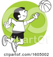 Clipart Of A Boy Playing Basketball Over A Green Circle Royalty Free Vector Illustration