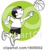 Boy Playing Basketball Over A Green Circle