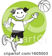 Poster, Art Print Of Girl Playing Basketball Over A Green Circle
