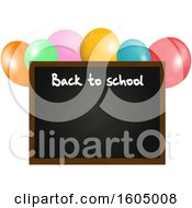 Clipart Of A 3d Back To School Blackboard Floating With Balloons Royalty Free Vector Illustration by elaineitalia