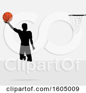 Clipart Of A Silhouetted Basketball Player Jumping Royalty Free Vector Illustration