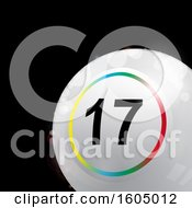 Clipart Of A 3d White Bingo Or Lottery Ball With A Colorful Ring Over Black Royalty Free Vector Illustration