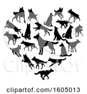 Clipart Of A Heart Made Of Silhouetted Dogs Royalty Free Vector Illustration