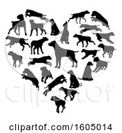 Heart Made Of Silhouetted Dogs