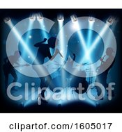 Poster, Art Print Of Silhouetted Band In Action On Stage In Blue Lighting