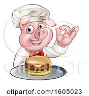 Poster, Art Print Of Chef Pig Holding A Cheeseburger On A Tray And Gesturing Perfect