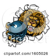 Clipart Of A Tough Lion Sports Mascot Holding Out A Bowling Ball And Breaking Through A Wall Royalty Free Vector Illustration