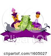 Clipart Of A Halloween Banner With A Frog And Potion Bottles Royalty Free Vector Illustration