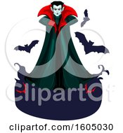 Clipart Of A Vampire With Bats And A Blank Banner Royalty Free Vector Illustration by Vector Tradition SM