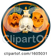 Skull Candle And Halloween Jackolantern Pumpkins
