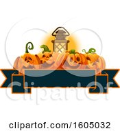 Clipart Of A Lantern And Halloween Jackolantern Pumpkins Over A Banner Royalty Free Vector Illustration