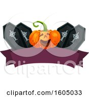Clipart Of A Banner With A Halloween Jackolantern Pumpkin And Coffins Royalty Free Vector Illustration