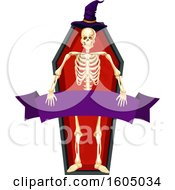 Clipart Of A Skeleton With A Witch Hat And Banner In A Coffin Royalty Free Vector Illustration