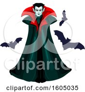 Clipart Of A Vampire With Bats Royalty Free Vector Illustration