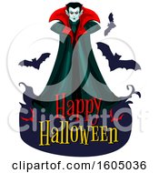 Clipart Of A Happy Halloween Greeting With A Vampire With Bats Royalty Free Vector Illustration by Vector Tradition SM