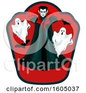 Clipart Of A Vampire With Bats And Ghosts Royalty Free Vector Illustration by Vector Tradition SM