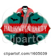 Clipart Of A Vampire With Bats And Halloween Party Text Royalty Free Vector Illustration