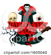 Halloween Party Design With A Skull Spider Bloody Knife And Vampire