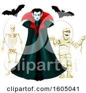Clipart Of A Vampire With Bats A Mummy And Skeleton Royalty Free Vector Illustration