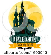 Clipart Of A Haunted Halloween Castle And Full Moon Over Banners Royalty Free Vector Illustration