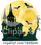 Clipart Of A Haunted Halloween Castle And Full Moon With Bats And A Cemetery Royalty Free Vector Illustration