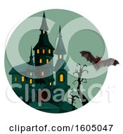 Clipart Of A Haunted Halloween Castle And Bat Royalty Free Vector Illustration