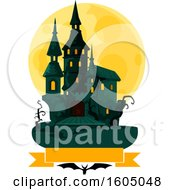 Clipart Of A Haunted Halloween Castle And Full Moon Over A Banner And Bat Royalty Free Vector Illustration