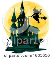 Clipart Of A Haunted Halloween Castle And Full Moon With A Witch Royalty Free Vector Illustration