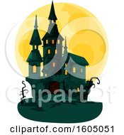 Clipart Of A Haunted Halloween Castle And Full Moon Royalty Free Vector Illustration by Vector Tradition SM