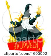 Clipart Of A Wizard Throwing A Fire Ball Over A Halloween Banner Royalty Free Vector Illustration