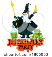 Clipart Of A Wizard Throwing A Fire Ball Over A Frog And Halloween Party Text Royalty Free Vector Illustration