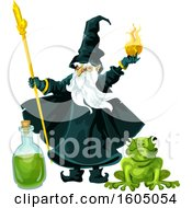 Clipart Of A Wizard Throwing A Fire Ball Over A Potion Bottle And Frog Royalty Free Vector Illustration